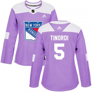 Jarred Tinordi New York Rangers Adidas Women's Authentic Fights Cancer Practice Jersey (Purple)