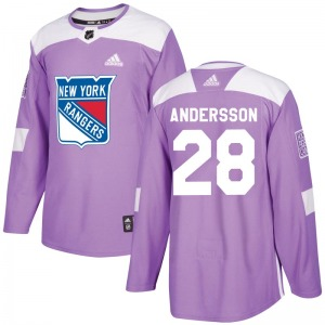 Lias Andersson New York Rangers Adidas Youth Authentic Fights Cancer Practice Jersey (Purple)
